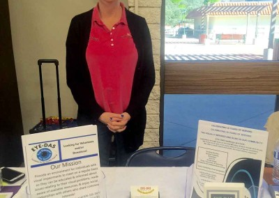 Kathy Boyer representing EYE-DAS at the Women's Wellness Expo at the Glendora Library-Bidwell Forum
