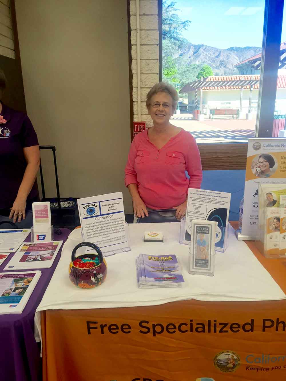 Carolyn Crawford representing EYE-DAS at the Women's Wellness Expo at the Glendora Library-Bidwell Forum