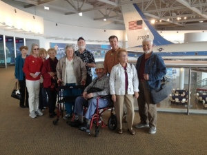 Reagan Library field trip group in front of Air Force One